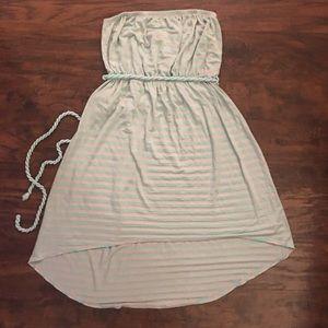 Cute strapless dress, mint green striped. Size S